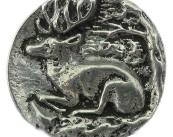 """RJ623 - Hand Cast Pewter Button - 7/8"""" Graceful Resting Stag Pewter Buttons (Card of 4)"""