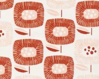 Block Blooms Red - Around the Block - Cloud9 Fabrics - Organic Cotton - Canvas by the Yard