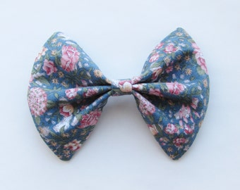 Floral Whimsy Hair Bow - French Barrette, Summer Floral Hair Bow Hair Accessory, Big Hair Bow for Teen Girls