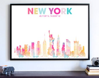 New York Skyline Silhouette Poster, Empire State Building, NYC Dorm Room Decoration, Manhattan Skyline Wall Art, Cityscape Office Art Print