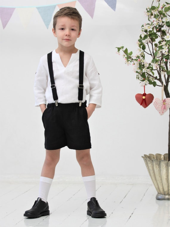 Boys shorts Toddler boy linen shorts and suspender set Black