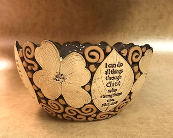 Large Scripture Dogwood Bowl 24