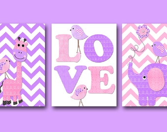 Elephant Nursery Giraffe Nursery Digital Art Printable Print Baby Girl Nursery Art Kid Digital Download set of 3 8x10 11X14 INSTANT DOWNLOAD