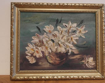 Oil on Canvas, Flowers in vase, beautiful little painting.