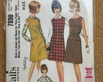 Vintage 1960's dress pattern size 14-16-McCalls 7890