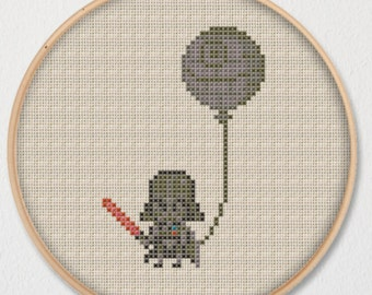 Darth Vader Death Star Balloon Star Wars Cross Stitch Pattern - Instant Download PDF