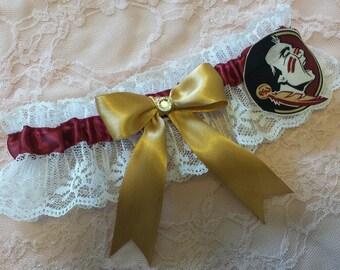 Florida State University Seminoles FSU Inspired White Lace Wedding Leg Garter Belt Toss or Set
