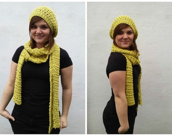 Yellow cotton scarf and hat, hat and scarf set, yellow summer scarf, summer hat, cotton scarf, summer scarf, yellow summer hat, yellow hat