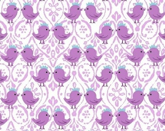 LAST PIECE - 1 1/8yd - Purple birds kissing/love - 100% quilting cotton [[by the half yard]]