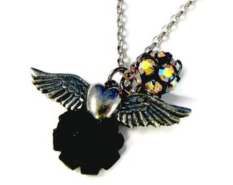 Silver Heart with Wings Black Rose Necklace RESERVED for cintia88
