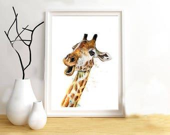 Giraffe print on paper drawing illustration, animal painting mixed media (paint, pastels, pencils...).