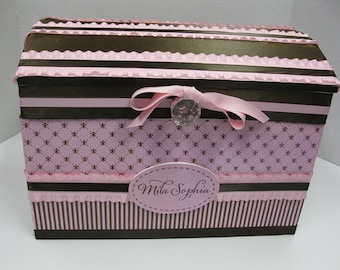 First Birthday Time Capsule/Nursery Storage Chest to Match Your Decor- Pink and brown