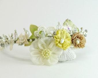 Autumn wedding crown, wedding floral crown, bridal floral headband, bridal flower headpiece, fall wedding hair accessories,floral head piece