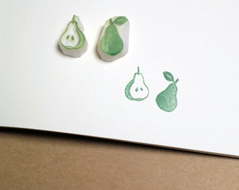 Pear rubber stamp set of two. Fruit hand carved stamp. Handmade stamp. Unmounted stamp. Cute stamp.