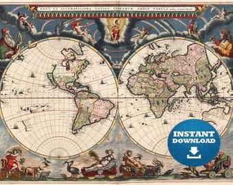 Digital modern political world map printable download large digital old world map printable download vintage world map large world map digital gumiabroncs Images