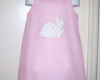 Pink Gingham Chenille Bunny Applique Easter A-line Dress 3 mo 6 mo 9 mo 12 mo 18 mo 24 mo 2T 3T 4T 5T 6 6X