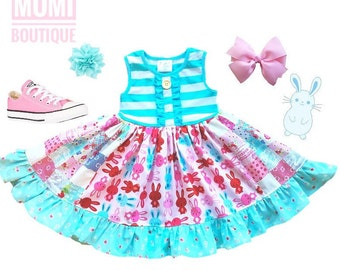 Girls Easter dress bunny 12mo 2 3 4 5 6 7 8 Spring bunny dress Momi boutique custom dress