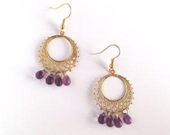 Gold chandelier earrings, earrings gold, gift, Czech beads