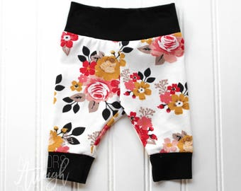 White Floral Cuff Leggings