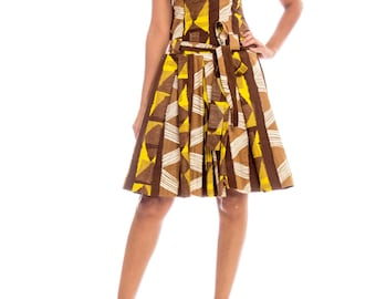 1960s Abstract Ethnic Print Mock Neck Dress Size: S/M