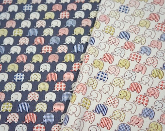 Tiny Elephant galore Print Japanese fabric fat quarter 19.6 by 21 inches nc35