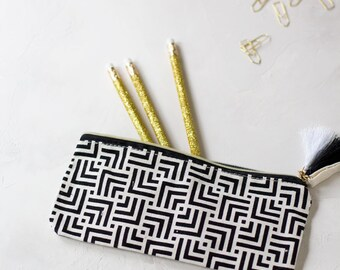 Black + Cream Geometric Accessory Pouch w/ Tassels + Gold Details