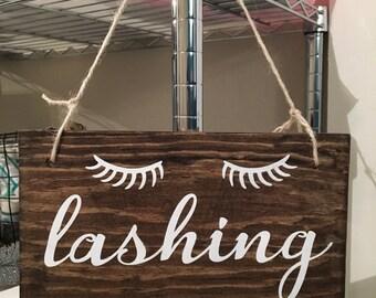 Lashing Wood Sign With Eye Lashes   Office Decor   Lashes Sign   Bathroom Decor   Eye Lashes Sign   Wood Sign   Lashing Sign   Wooden Sign