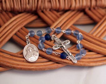 One Decade Rosary, Immaculate Heart and Sacred Heart, Blue Recycled Glass