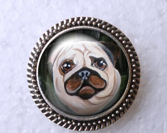 Fawn Pug Ring ~ Girlfriend Gift ~ April Birthday ~ Statement Ring ~ Pug Lover  ~ Pug Painting ~ Pug Jewelry ~ Pug Portrait