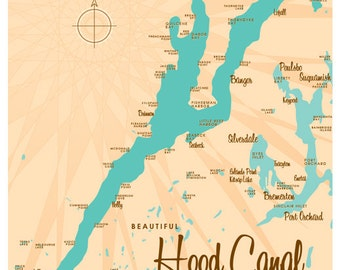 Hood Canal, Puget Sound Washington Map Print