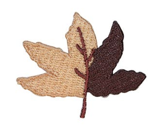 ID 1416B Dual Colored Maple Leaf Patch Fall Tree Embroidered Iron On Applique