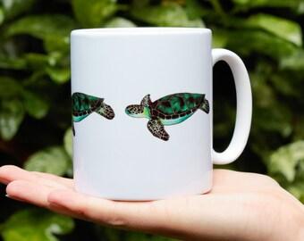 Sea Turtle Mug, Ceramic, Illustrated