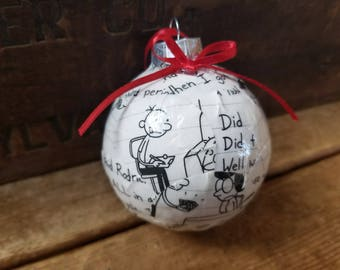 Diary of a Wimpy Kid book pages ornament,  upcycled book