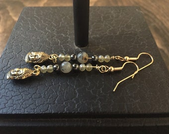 Hematite, Gold, Buddha, Drop Earrings
