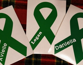 Awareness Ribbon Decal With Name