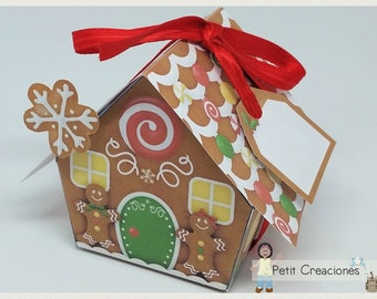 "PRINTABLE GIFT  box ""Gingerbread house"" DIY, treat box, place holder, gift idea for Christmas"