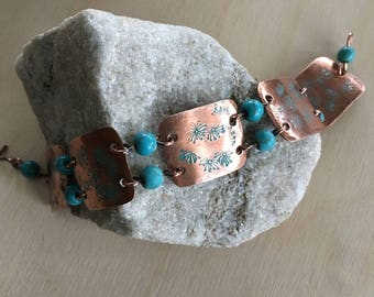 Women's link Bracelet - Turquoise - Medium - cuff link - Handmade Copper Metal Artisan Jewelry