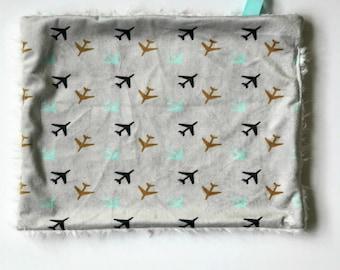 Airplane Lovey Security Baby Blanket, Baby Shower, Baby Boy,Decor, Nursery