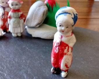 SALE Bisque Dutch boy penny doll VTG Frozen Charlie Bisque Porcelain novelty toy birthday collector terrarium bonsai garden Fathers Day gift