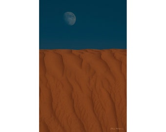 Photograph of the Moon Over a Dune in Arizona, printed on metal and ready to hang