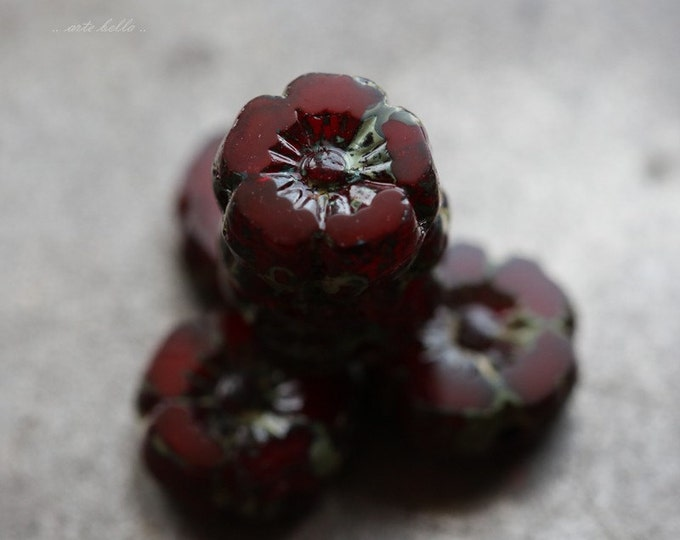 CHERRY BLOOMS No. 3 .. 6 Picasso Czech Glass Flower Beads 8mm (5080-6)