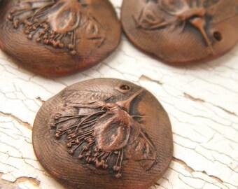 PRE-ORDER Rustic Copper Brown - Wild Rose rustic boho chic painted pressed flower charm (pre-order - ships in 2-3 weeks)