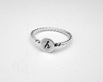 Personalized Ring, Initial Ring, Stacking Ring, Mini Monogram in Sterling Silver