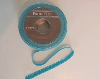 Grosgrain Ribbon stitched turquoise 1 cm wide