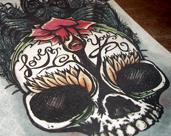 Day of the Dead Rose Skull Art Print 5x7 By Agorables Lord of the Undead Ruler of Romantic Monsters