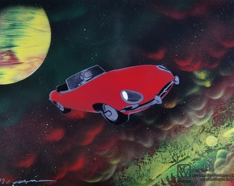 Red E-Type In Nebula Painting