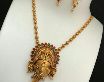 Lord Ganesh Necklace, Kemp Necklace W Earrings,South Indian Jewelry,Bridal Jewelry,Bollywood,Statement Necklace, Polki,Temple Jewelry,Haaram