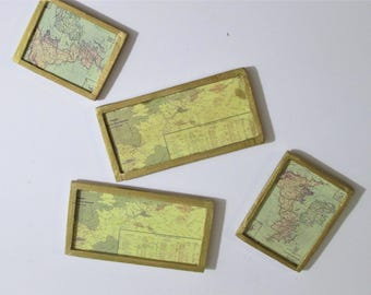 1:12 Dollhouse maps set of two, mini maps, old maps, gold framed maps