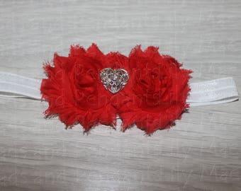 Elegant Red Heart Baby Headband