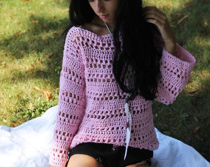 Sweater, Crochet sweater, Womens sweater, Boho chic sweater, Pink sweater, Romantic, feminine, FALL Autumn Winter fashion, cotton sweater